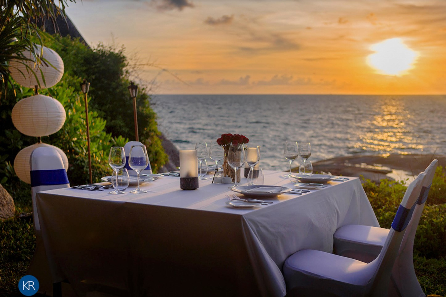 Romantic, seaside candle lit dining 'on the rocks' fronting the resort is a favourite with honeymooners or couples celebrating special occasions and available only at Kata Rocks.