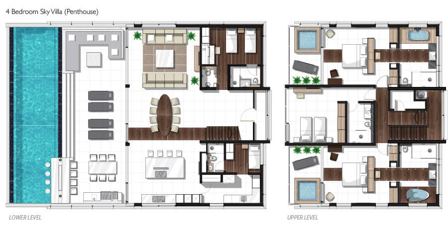 Four-bedroom Penthouse Sky Villa Floor plan