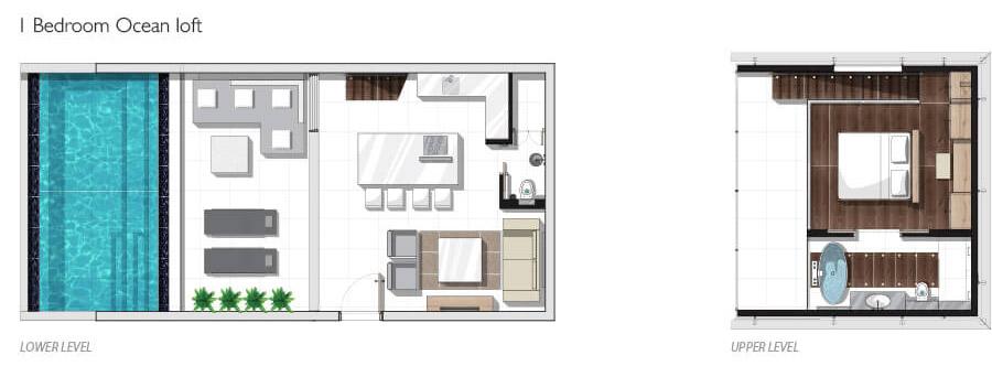 One-bedroom Ocean Pool Loft Floor plan