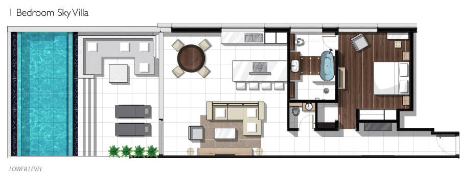 One-bedroom Sky Pool Villa Floor plan
