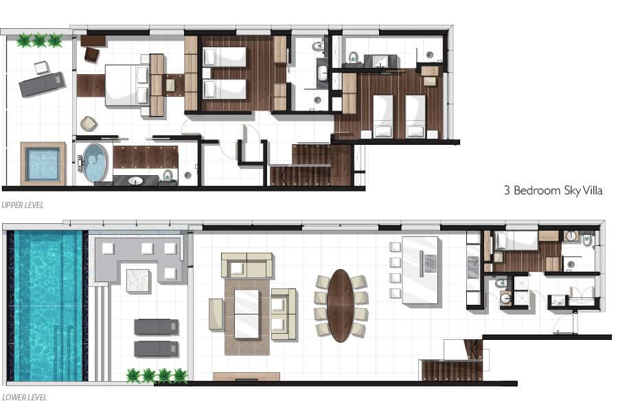 Three-bedroom Sky Pool Villa Floor plan