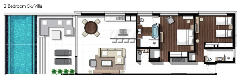 Two bedroom sky villas - floorplan
