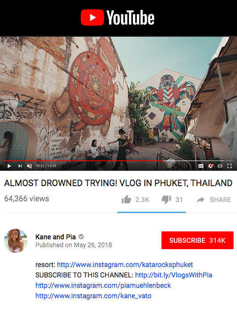 Kane and Pia - Almost drowned trying vlog in Phuket, Thailand