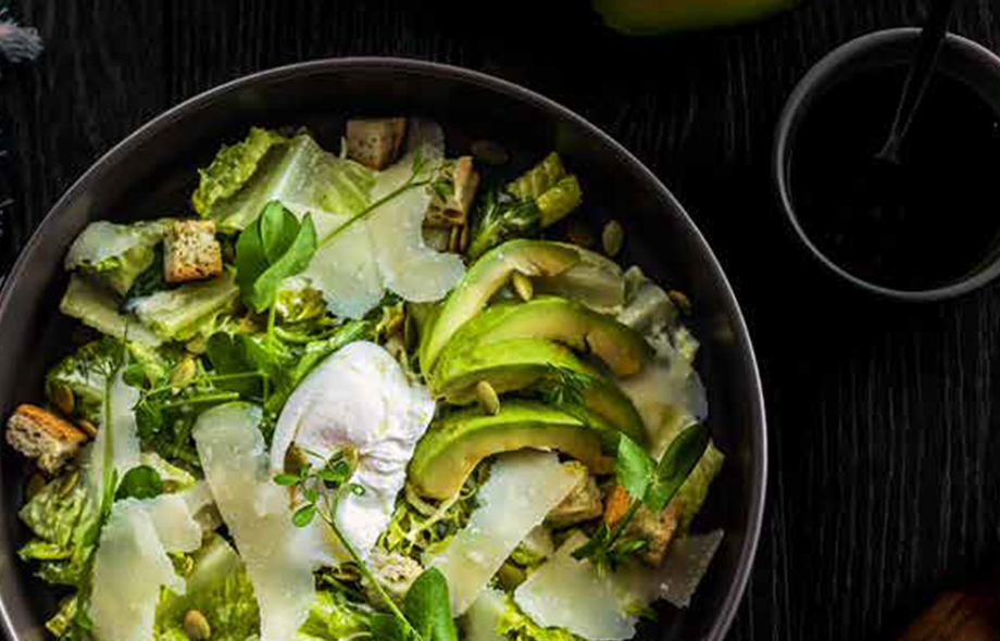 AVOCADO AND POACHED EGG CAESAR SALAD